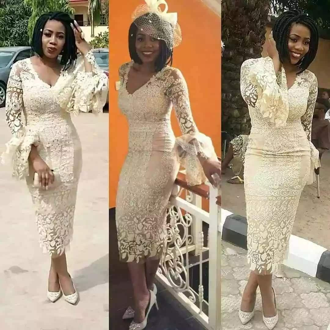 Nigerian evening French lace midi gown