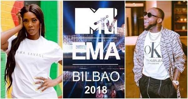 Davido and Tiwa Savage are on MTV EMA 2018 nomination list