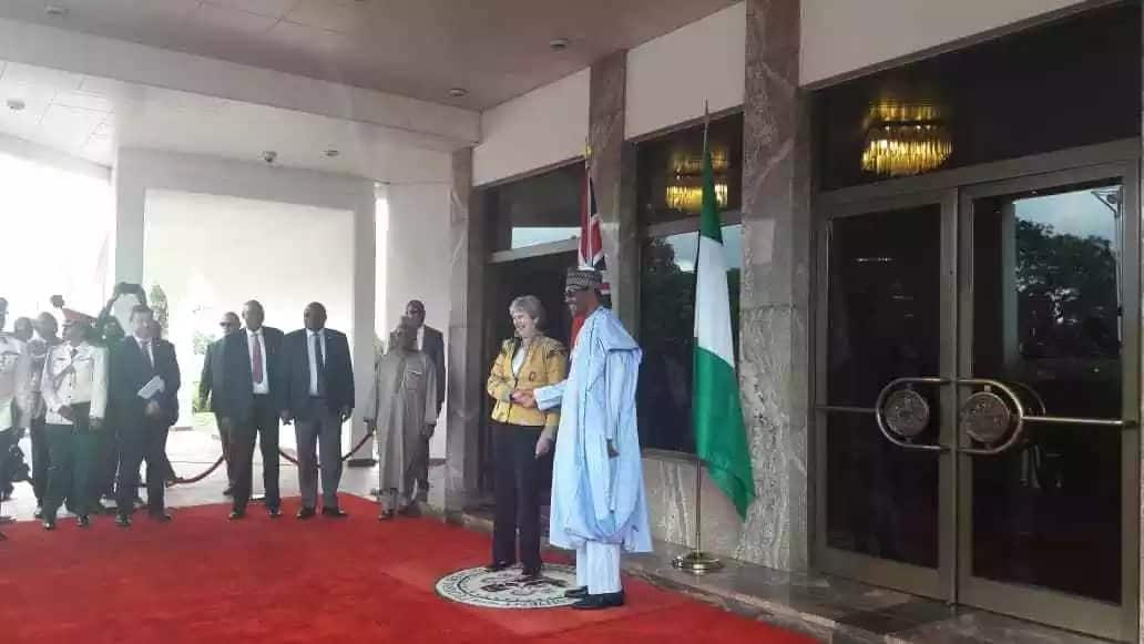 Breaking: British prime minister Theresa May arrives Abuja