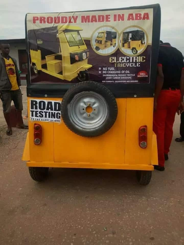 Photos of tricycle made in Abia state emerges online, it doesn't use fuel and it's noiseless