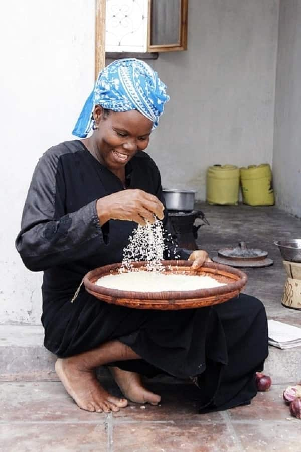 woman with rice