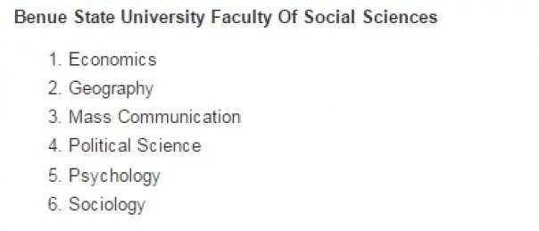 Benue state university courses