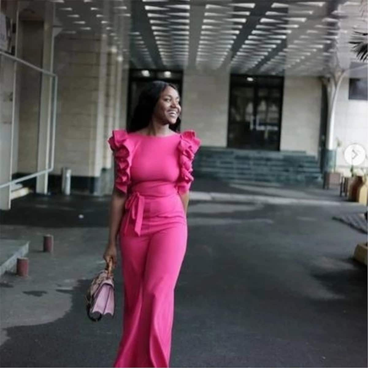 Davido's bae Chioma is all shades of pretty in pink jumpsuit