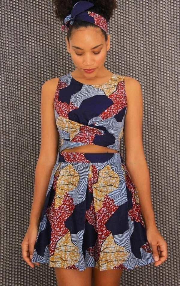 Shortened Ankara top and skirt