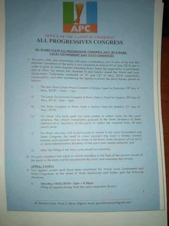 Rivers APC ward, LG congresses cancelled; new dates fixed