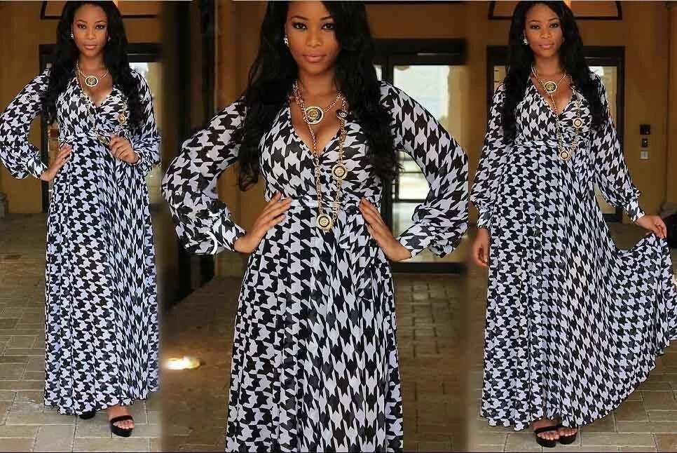 Chiffon gown with geometric print