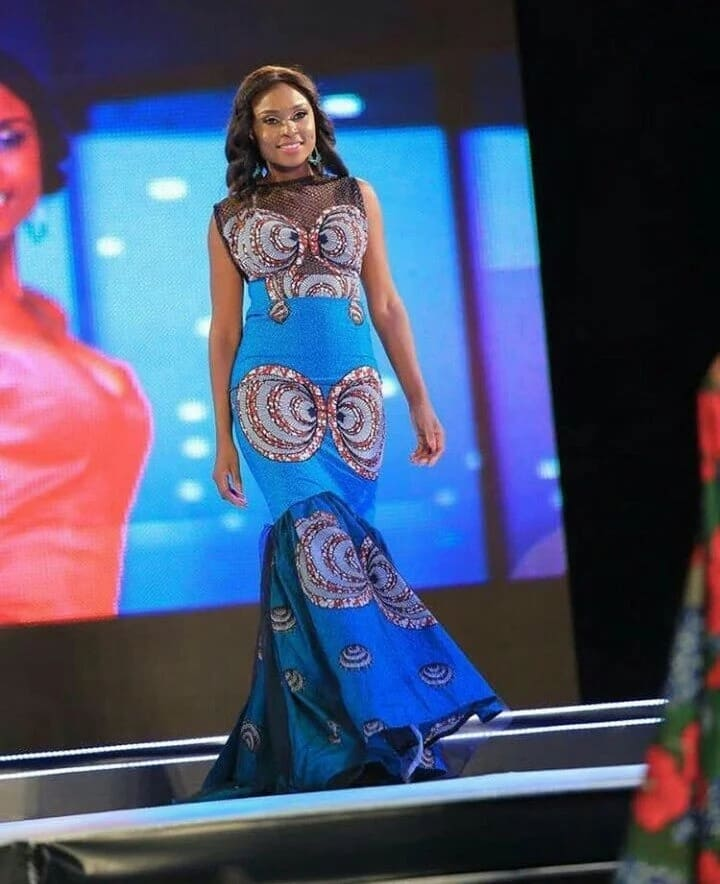 Ankara gown with black transparent insert (photo from Miss Africa 2017)