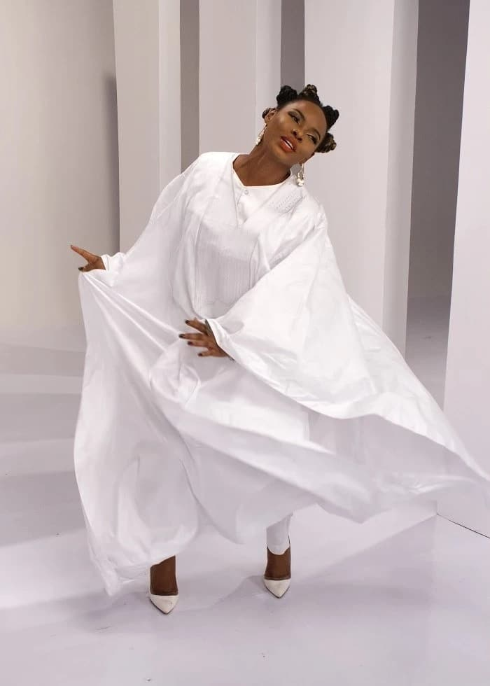 White Agbada style for ladies