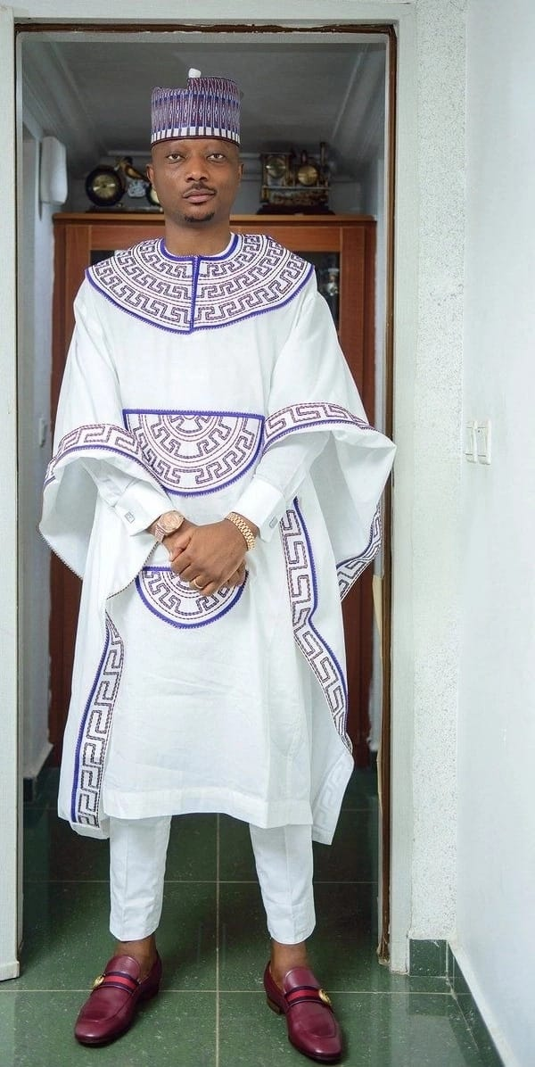 White Agbada style for guys with ornament