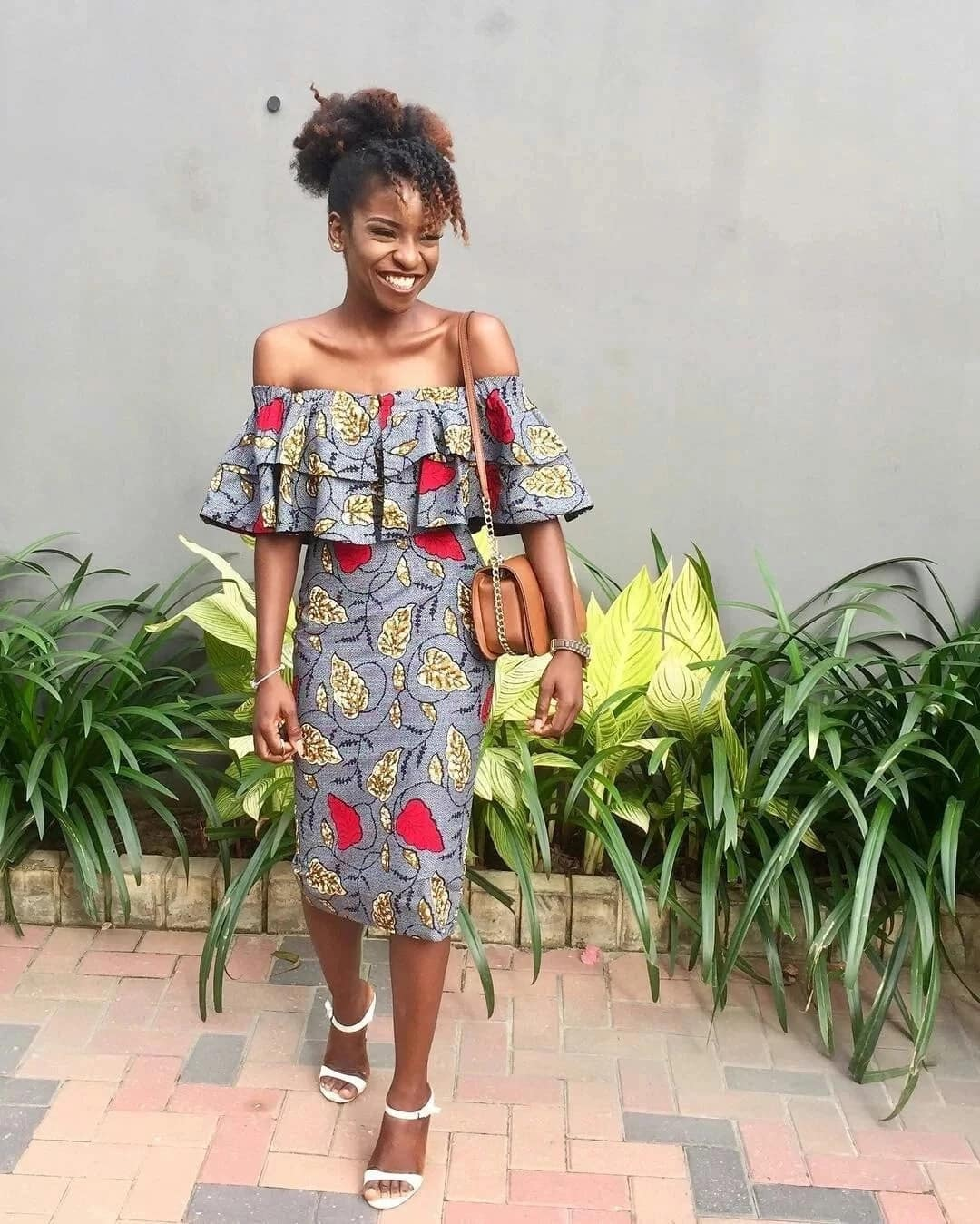 Off shoulder Ankara evening dress