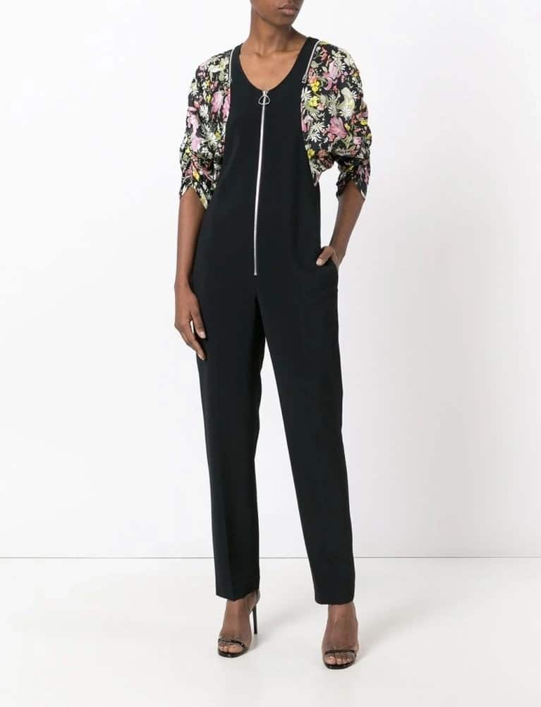 Black jumpsuit with colorful inserts
