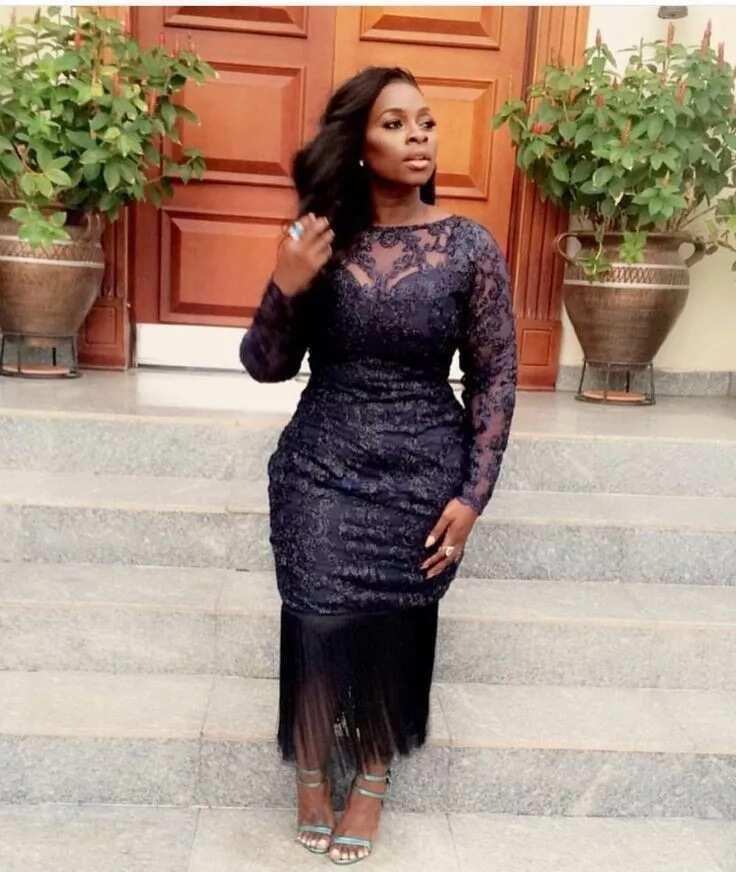 Nigerian French lace midi dress