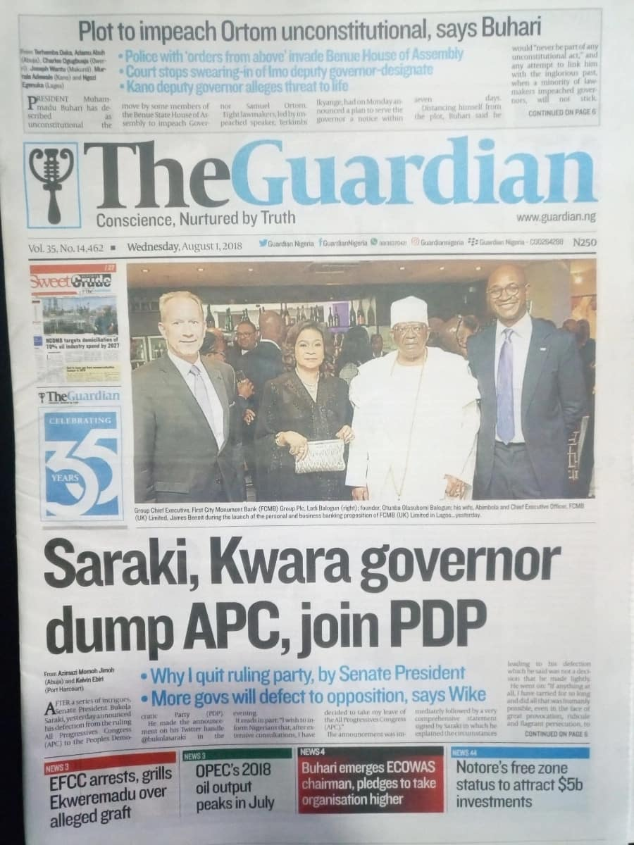 Guardian newspaper for Wednesday, August 1. Photo credit: snapshot from Legit.ng.