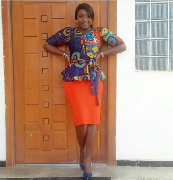 Ankara plain and patterned skirt and blouse