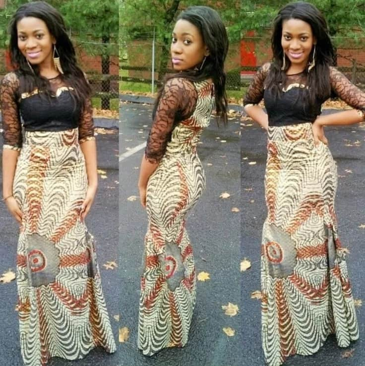 Latest Ankara long gown with black lace