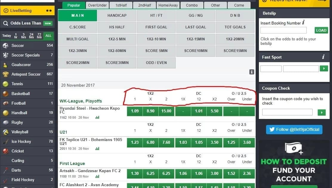 Bet9ja options and meanings ▷ Legit ng