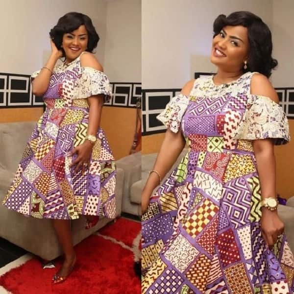 Ankara midi gown in a patchwork style