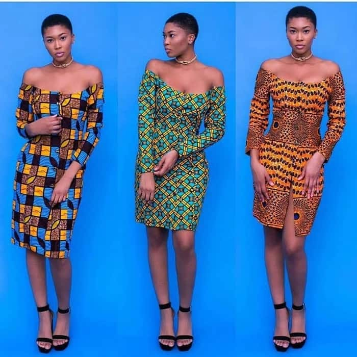 Off shoulder Ankara short gowns 2017