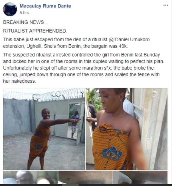 Runs girl who collects N40,000 per night allegedly escapes being used by ritualists
