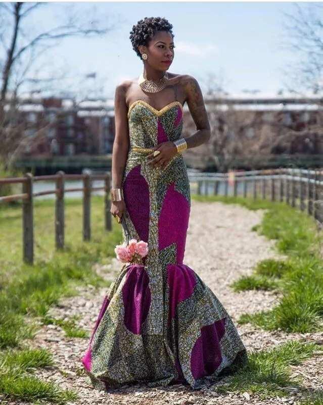 Ankara long off shoulder gown
