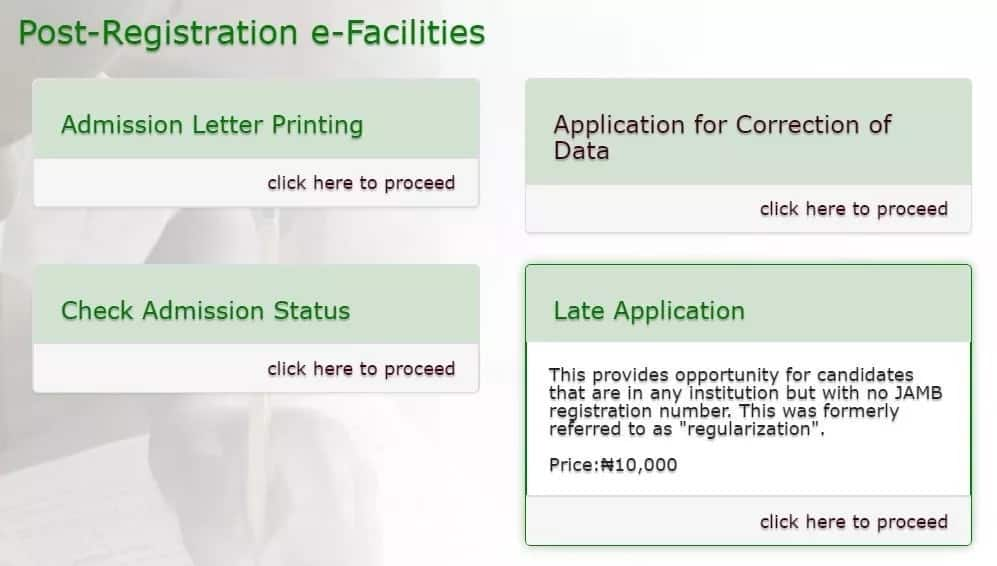 How to do JAMB regularization Late Application