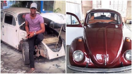 See how Nigerian man revamped an old rickety Volkswagen Beetle, it was manufactured in 1966 (photos)