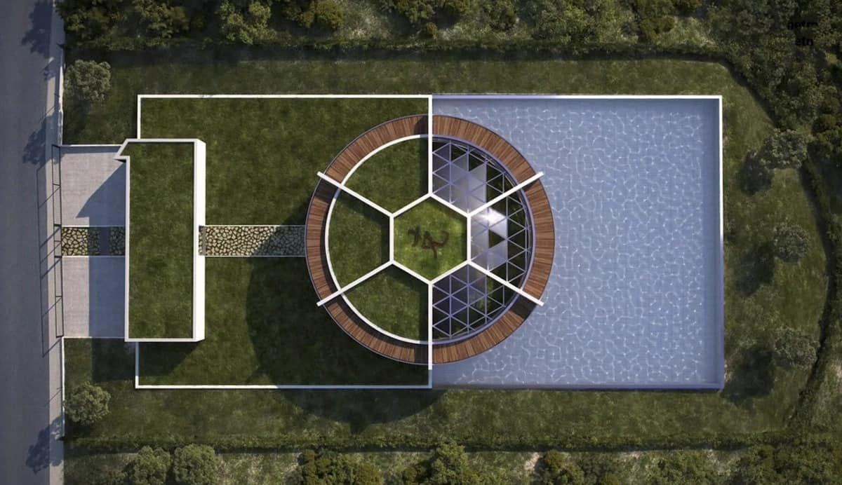 Lionel Messi house like a ball on a football field