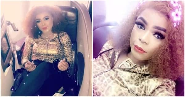 Bobrisky flies first class to meet his fans, says 'Mama is on her way to UK'