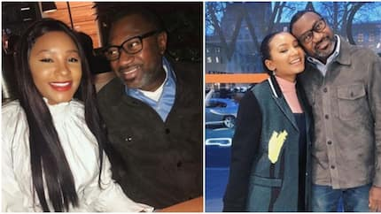 Nigerian billionaire Femi Otedola presents flowers to his daughter to cheer her up during sickness