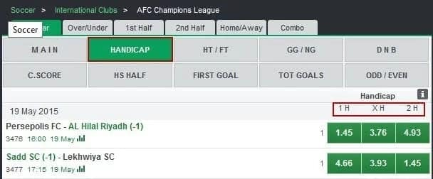 Handicap in Bet9ja