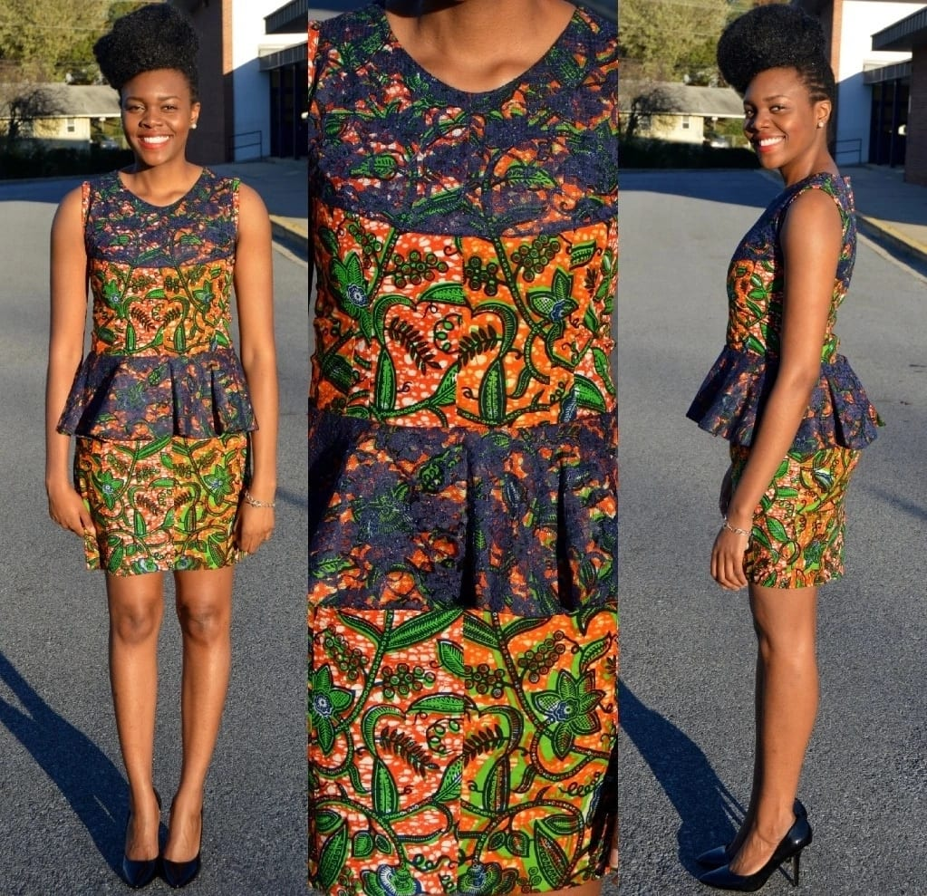 Ankara short dress with peplum and black lace trim