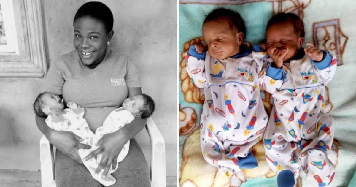 Woman celebrates her cute twin babies