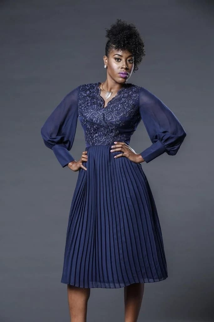 Chiffon gown with pleated skirt
