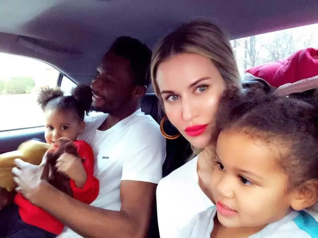 Mikel Obi with his wife and children