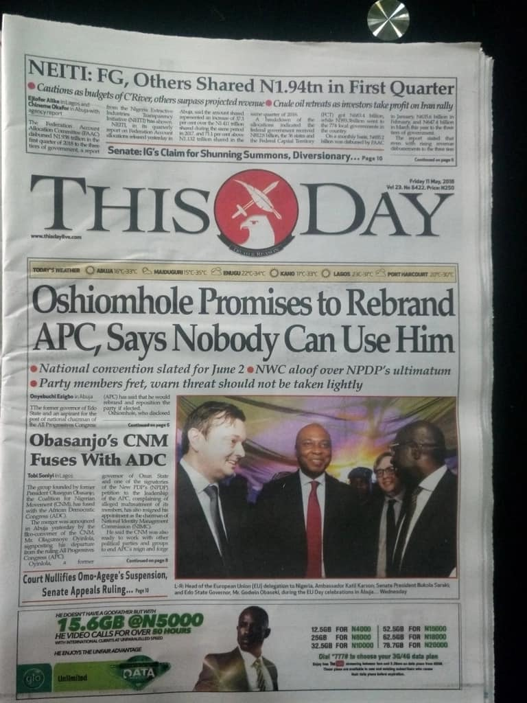 APC national chairmanship: Nobody can use me - Oshiomole (Newspaper Review)
