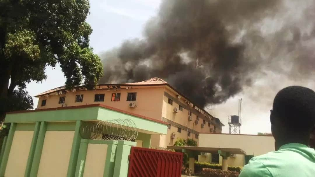 JUST IN: KADSIECOM building gutted by fire in Kaduna