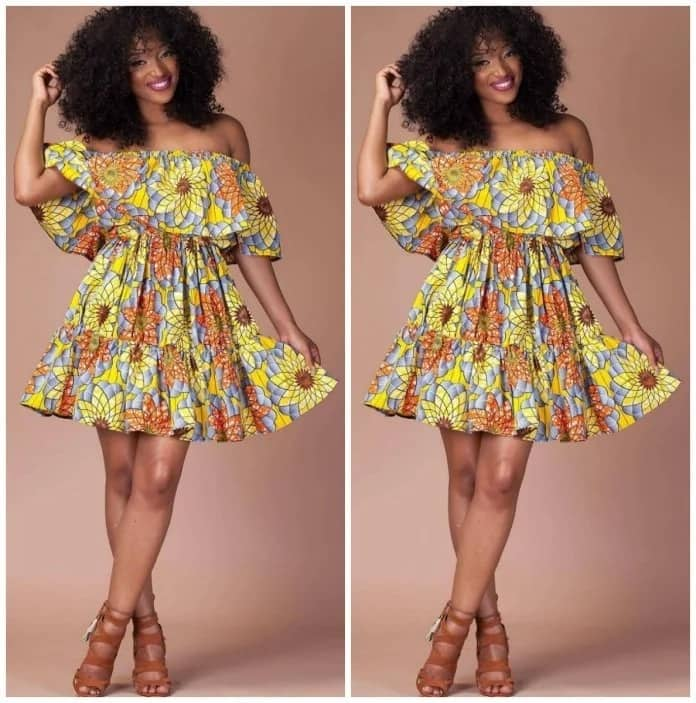 Short Ankara gown with frill