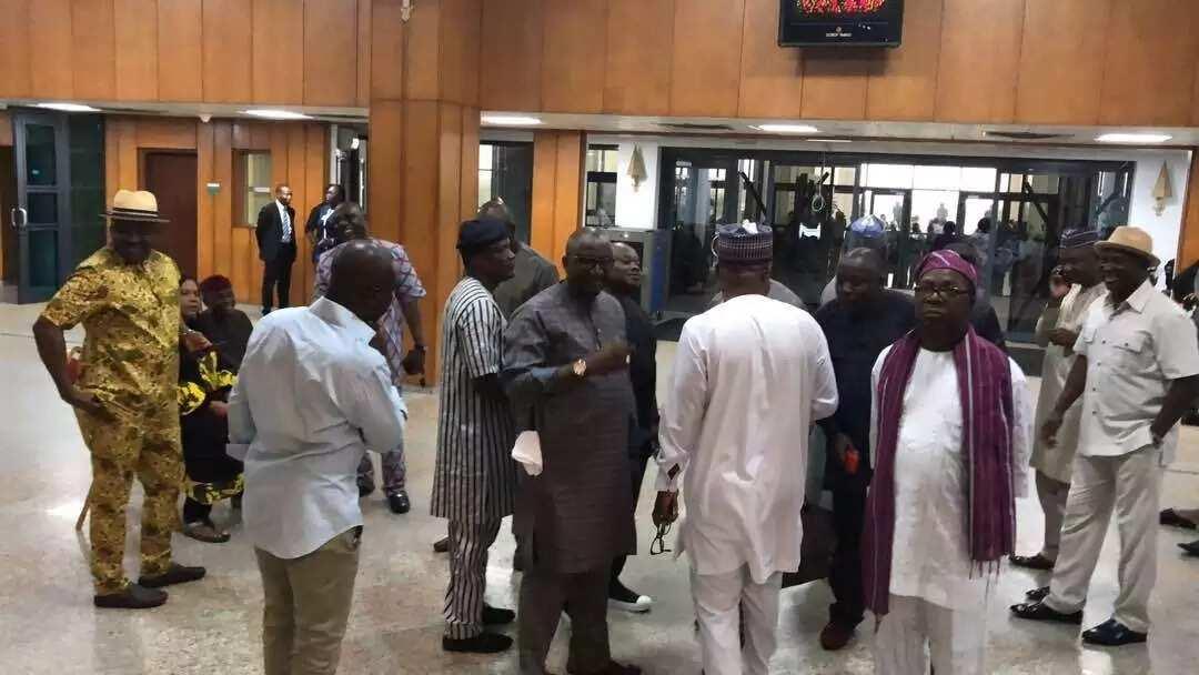 Senators inside the National Assembly, the chamber is still under lock. Photo source: Bamikole Omisore