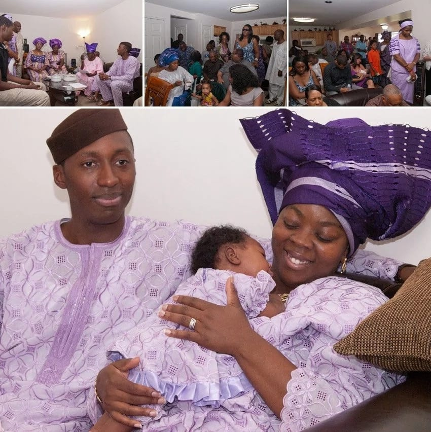 Yoruba couple at their baby's naming ceremony. Purple themed baby naming ceremony. Yoruba Naming Ceremony. Naming Ceremony among Yoruba people.