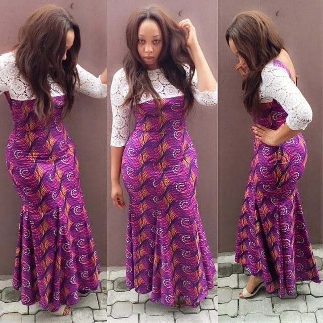 Ankara maxi dress with white lace décolletage
