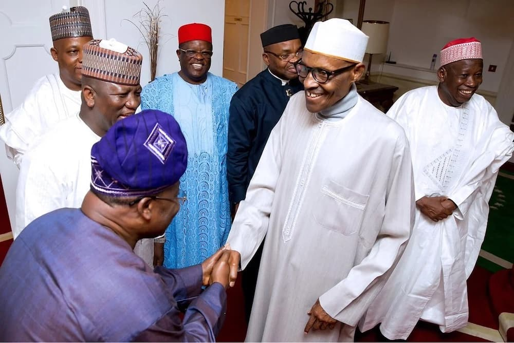 BREAKING: President Buhari receives governors in London (photos)