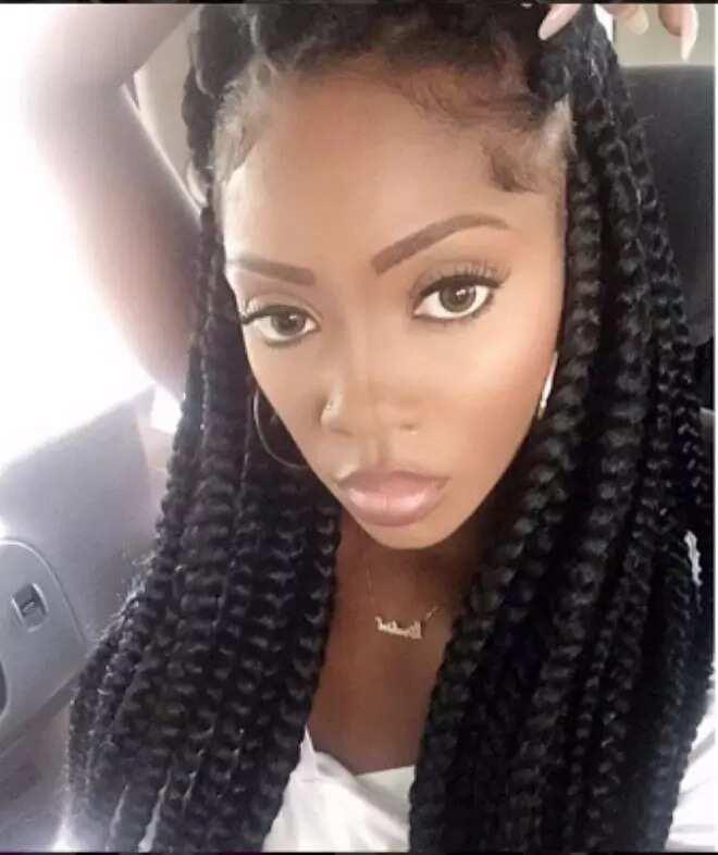 Tiwa Savage long braids