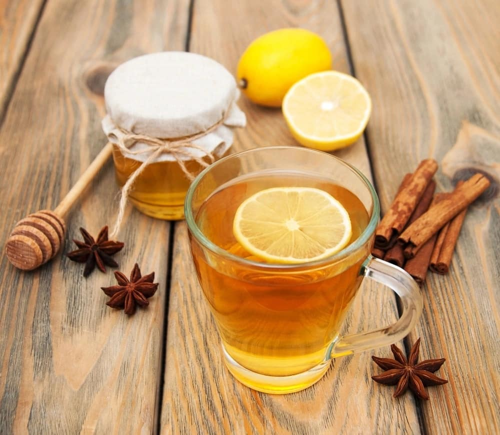 Drink of honey with hot water