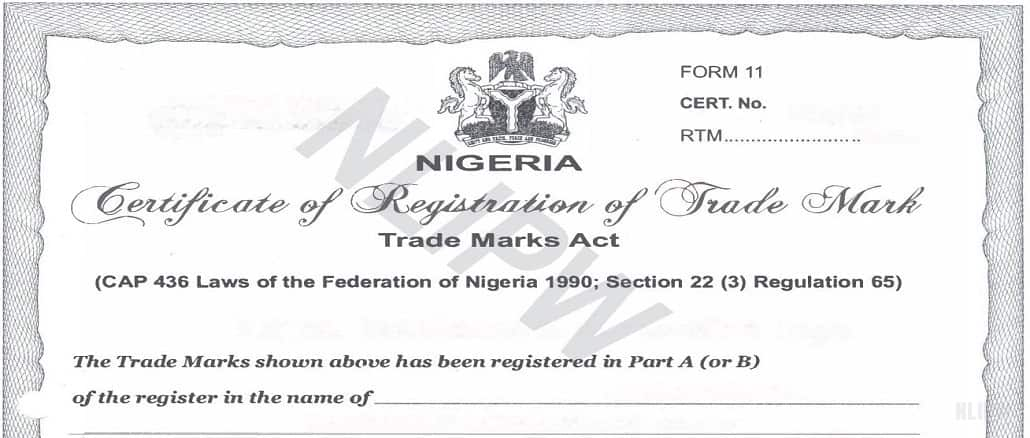 Certificate of Registration of Trademark in Nigeria