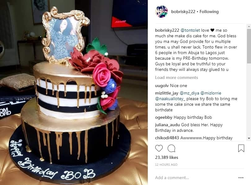 Bobrisky shares photo of the beautiful birthday cake Tonto Dikeh gifted him