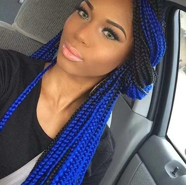 Blue jumbo box braids