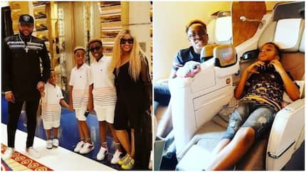 Boss! Billionaire E-money flies his family out of the country in style, shares photos of their fun vacation in Dubai