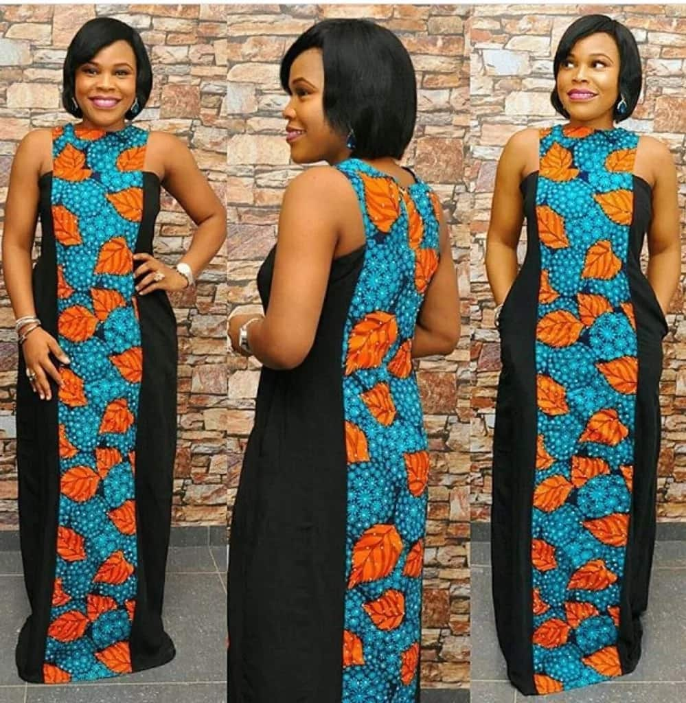Latest Ankara long gown styles with black