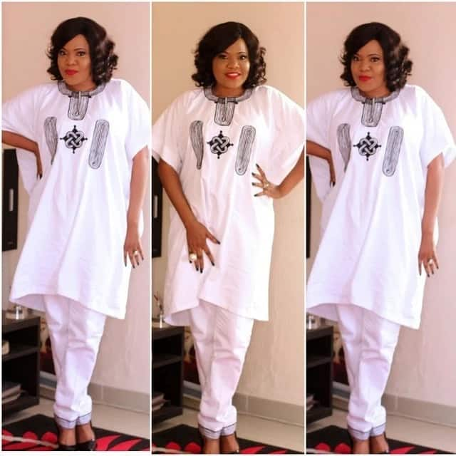 White Agbada style for plus size ladies