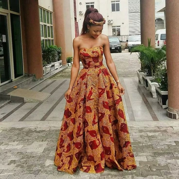 Latest Ankara long off shoulder gown
